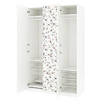 Шкаф IKEA PAX Marnardal белый с цветочным узором 592.471.08