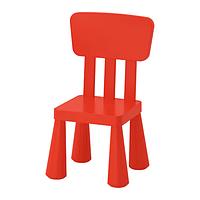 IKEA МАММУТ Детский стул, для дома и улицы, красный