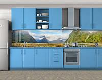 Кухонный фартук Гряда гор в облаках, Пленка самоклеящаяся для скинали, Природа, зеленый, фото 1