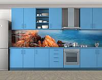 Кухонный фартук Красные скалы и синяя вода, Стеновая панель для кухни с фотопечатью, Природа, голубой