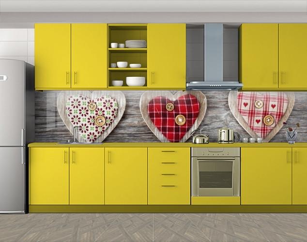 Кухонный фартук Мягкие сердечки, романтика, Наклейка на кухонный фартук, Разное, бежевый