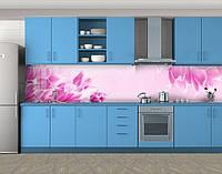 Кухонный фартук Бутоны розовых тюльпанов, Стеновая панель для кухни с фотопечатью, Цветы, розовый