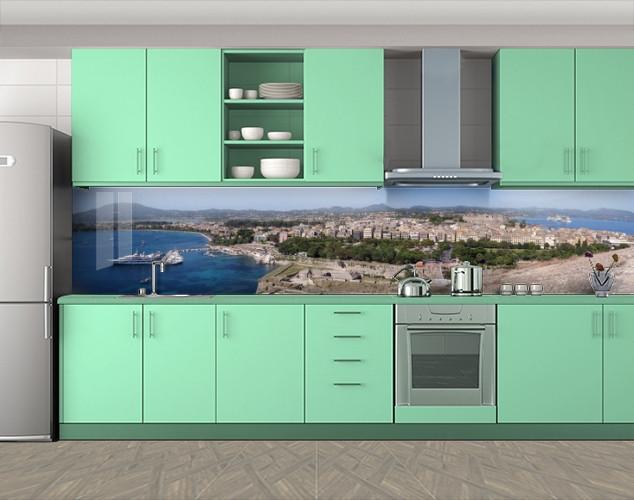 Кухонный фартук Курортный город и лайнер, Скинали с фотоизображением на самоклеящейся пленке, Город днем, серый