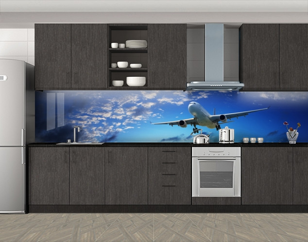 Кухонный фартук Самолет в небе, Скинали с фотоизображением на самоклеящейся пленке, Транспорт, синий, 600*3000 мм