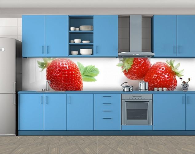 Кухонный фартук Сочная клубника, ягоды на белом фоне, Скинали с фотоизображением на самоклеящейся пленке, Еда, напитки, белый