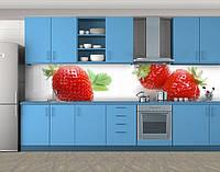 Кухонный фартук Сочная клубника, ягоды на белом фоне, Скинали с фотоизображением на самоклеящейся пленке, Еда, напитки, белый, фото 1