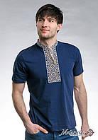 Чоловіча футболка із вишивкою в українському стилі «Козацька (бежева вишивка)»
