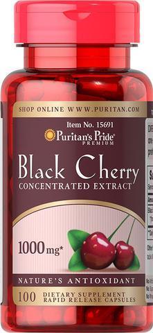 Черная вишня Puritan's Pride Black Cherry 1000 мг,  100 капсул. Сделано в США