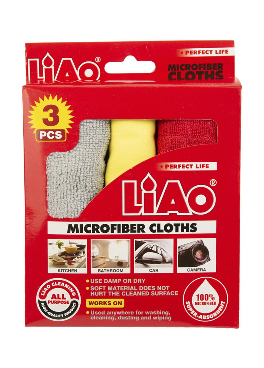 Салфетки для уборки (3шт) Liao 50х36см Красный, Серый, Желтый