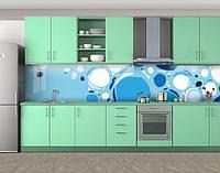 Кухонный фартук Круги и пузыри, Кухонный фартук с фотопечатью, Абстракции, голубой, фото 1