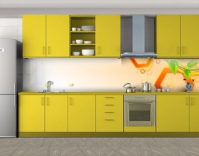 Кухонный фартук Шестиугольники и листья, Пленка самоклеящаяся для скинали, Абстракции, оранжевый