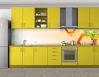 Кухонный фартук Шестиугольники и листья, Пленка самоклеящаяся для скинали, Абстракции, оранжевый, фото 1