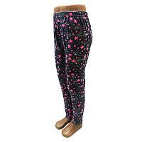 Лосины для девочек 110-128 (5-8 лет) ,джинсовый фон,звезды