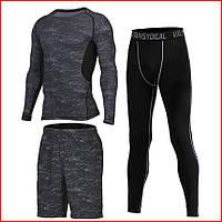 Компрессионная одежда  комплект 3в1 : Рашгард. Шорты. Леггинсы . Спортивное термобелье
