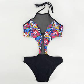 Купальник слитный монокини бразилиана 2020 купальник чёрная сеточка стильный молодёжный - 130-110, фото 2