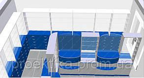 Мебель для аптек. Синий цвет аптечного оборудования