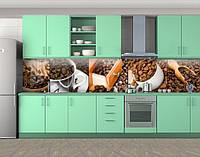 Кухонный фартук Кофе и специи, Наклейка на кухонный фартук, Еда, напитки, коричневый