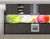 Кухонный фартук Разлитые краски, Кухонный фартук на самоклеящейся пленке с фотопечатью, Абстракции, зеленый