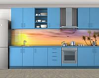 Кухонный фартук Пальмы на рассвете, Наклейка на кухонный фартук, Море, пляж, бежевый