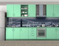 Кухонный фартук Холодный свет мостов, Стеновая панель для кухни с фотопечатью, Мосты, серый