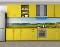 Кухонный фартук Поле и небо, Кухонный фартук на самоклеящееся пленке с фотопечатью, Природа, зеленый