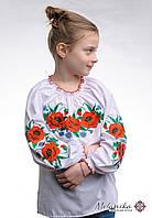 Вишиванка для дівчинки із маками та пишними рукавами «Макове поле»