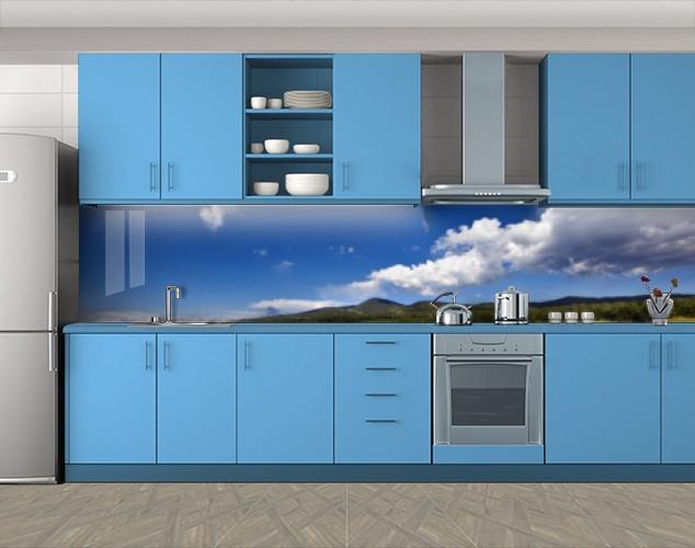 Кухонный фартук Небо и облака над холмами, Самоклеящаяся стеновая панель для кухни, Природа, голубой