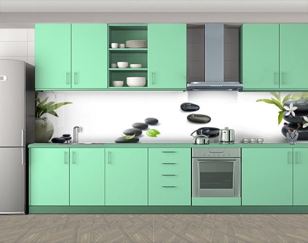 Кухонный фартук Круглые камни на белом фоне, Наклейка на кухонный фартук, Цветы, белый, 600*3000 мм