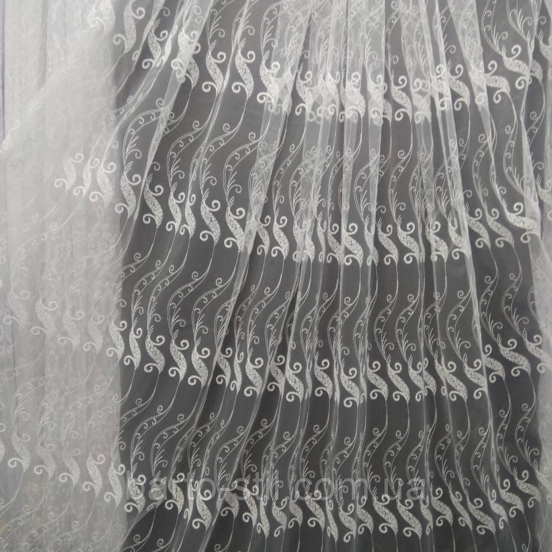 Тюль с  вышивкой на фатине цвет айвери Оптом и метражом