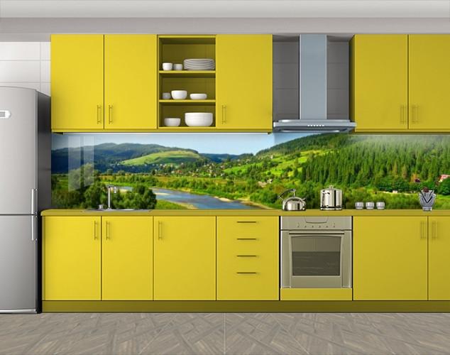 Кухонный фартук Речная долина Карпаты, Кухонный фартук на самоклеящееся пленке с фотопечатью, Природа, зеленый