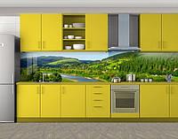Кухонный фартук Речная долина Карпаты, Кухонный фартук на самоклеящееся пленке с фотопечатью, Природа, зеленый, фото 1