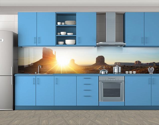 Кухонный фартук Каньон и солнце, Пленка самоклеящаяся для скинали, Архитектура, коричневый