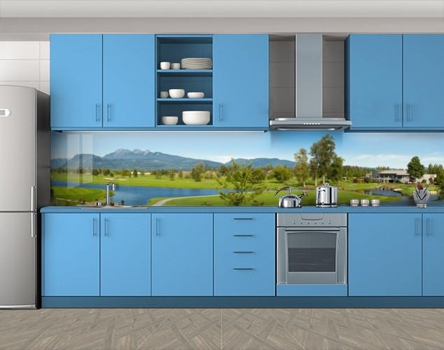 Кухонный фартук Озера и долина, Фотопечать кухонного фартука на самоклейке, Природа, зеленый, 600*3000 мм