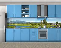 Кухонный фартук Озера и долина, Фотопечать кухонного фартука на самоклейке, Природа, зеленый, 600*3000 мм, фото 1