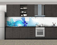 Кухонный фартук Цветы, краски и кляксы, Фотопечать скинали на кухню, Абстракции, голубой