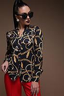 Черная блузка с принтом, фото 1