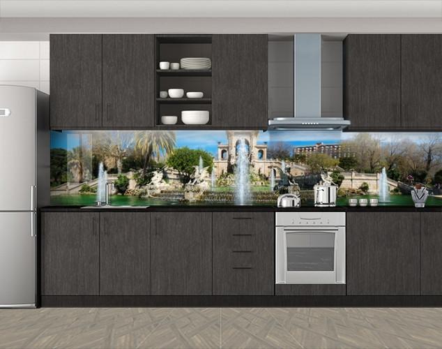 Кухонный фартук Оазис и фонтаны, Защитная пленка на кухонный фартук с фотопечатью, Архитектура, зеленый