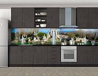 Кухонный фартук Оазис и фонтаны, Защитная пленка на кухонный фартук с фотопечатью, Архитектура, зеленый, фото 1