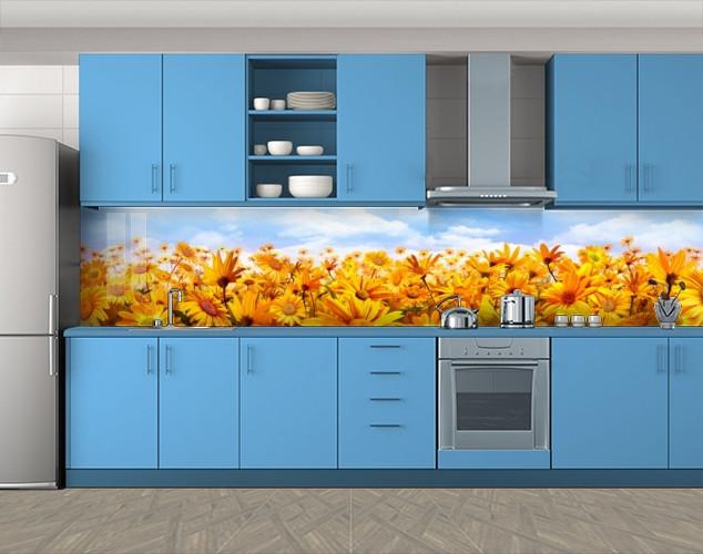 Кухонный фартук Поле календулы, цветы, Защитная пленка на кухонный фартук с фотопечатью, оранжевый