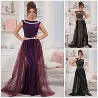 Вечернее блестящее платье со съемным шлейфом 18589, фото 1