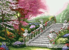 """Схема для вышивки бисером (пейзаж) """"Лестница в саду"""". Художник Томас Кинкейд"""