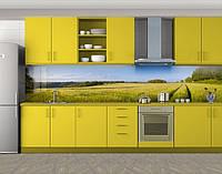 Кухонный фартук Дорога через засеянное поле, Защитная пленка на кухонный фартук с фотопечатью, Природа, зеленый