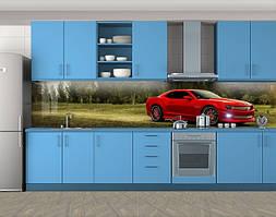 Кухонный фартук Красная спортивная машина, Самоклеящаяся стеновая панель для кухни, Транспорт, зеленый, 600*3000 мм