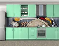 Кухонный фартук Специи и кухонный стол, Самоклеящаяся скинали с фотопечатью, Еда, напитки, серый, 600*3000 мм