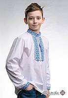 Вишиванка для хлопчика білого кольору із блакитною вишивкою «Андрійко», фото 1