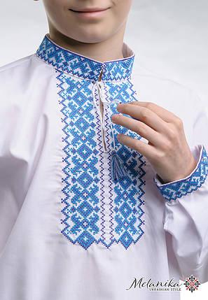 Вышиванка для мальчика белого цвета с голубой вышивкой «Андрей», фото 2