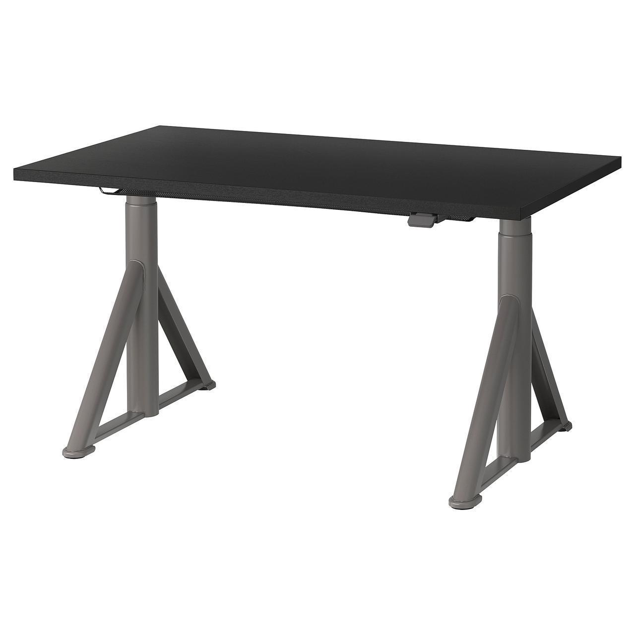 Компьютерный стол IKEA IDÅSEN 120x70 см с регулируемой высотой черный темно-серый 192.809.39
