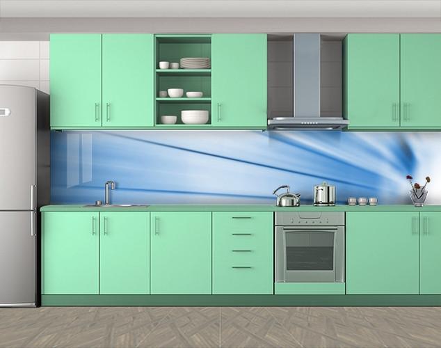Кухонный фартук Дуновение ветра, Самоклеящаяся стеновая панель для кухни, Абстракции, голубой