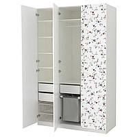 Шкаф IKEA PAX Marnardal белый с цветочным узором 592.650.17