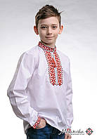 Вишиванка для хлопчика на довгий рукав із геометричним орнаментом «Андрійко (червона)», фото 1